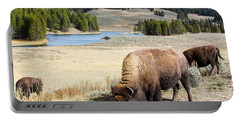 Bison Grazing In Meadow In Yellowstone Portable Battery Charger