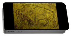 Portable Battery Charger featuring the drawing Golden  Buffalo by Larry Campbell