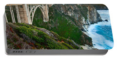 Bixby Sunrise - View Of Big Sur In California During Sunrise With Bixby Bridge. Portable Battery Charger