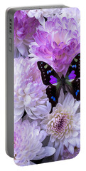 Black And Purple Butterfly On Mums Portable Battery Charger