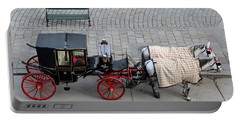 Portable Battery Charger featuring the photograph Black And Red Horse Carriage - Vienna Austria  by Imran Ahmed