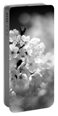 Black And White Blossoms Portable Battery Charger