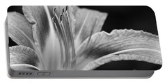 Black And White Daylily Flower Portable Battery Charger