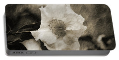 Black And White Flower With Texture Portable Battery Charger