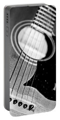 Black And White Harmony Guitar Portable Battery Charger by Athena Mckinzie