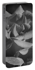 Black And White Morning Rose Portable Battery Charger