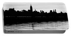 Portable Battery Charger featuring the photograph Black And White Nyc Morning Reflections by Lilliana Mendez