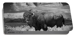 Black And White Photograph Of An American Buffalo Portable Battery Charger by Randall Nyhof