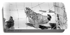 Black And White Rooster Portable Battery Charger by Denise Romano