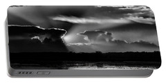 Black And White Sunset Over The Mead Wildlife Area Portable Battery Charger