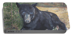 Black Bear - Wildlife Art -scruffy Portable Battery Charger