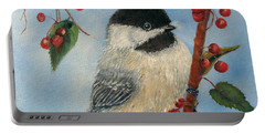 Black Capped Chickadee And Winterberries Portable Battery Charger