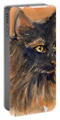 Black Cat Portable Battery Charger by Judith Levins