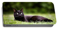 Black Cat Lying In Garden Portable Battery Charger