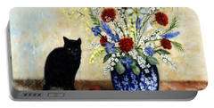 Portable Battery Charger featuring the painting Black Cat by Lynn Buettner