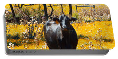 Black Cow And Field Flowers Portable Battery Charger