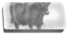 Black Cow Pencil Sketch Portable Battery Charger