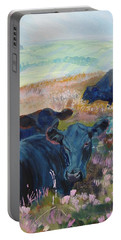 Black Cows On Dartmoor Portable Battery Charger