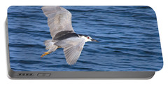 Black Crowned Night Heron In Flight Portable Battery Charger by Greg Graham