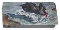 Portable Battery Charger featuring the painting Black Elegance by Lori Brackett