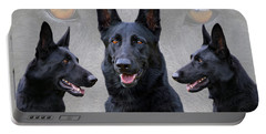 Black German Shepherd Dog Collage Portable Battery Charger by Sandy Keeton