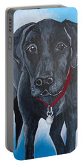 Black Lab Portable Battery Charger by Leslie Manley