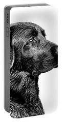 Black Labrador Retriever Dog Monochrome Portable Battery Charger