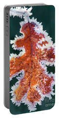 Portable Battery Charger featuring the photograph Black Oak Leaf Rime Ice Yosemite National Park California by Dave Welling
