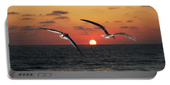 Black Skimmers At Sunset Portable Battery Charger by Tom Janca
