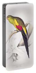 Black Tailed Parakeet Portable Battery Charger by Edward Lear