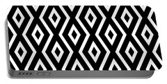 Black And White Pattern Portable Battery Charger by Christina Rollo