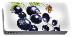Portable Battery Charger featuring the painting Blackcurrant Berries  by Irina Sztukowski