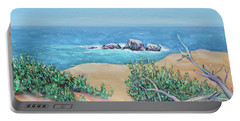 Bleached Cedar And Ocean Rocks Portable Battery Charger by Asha Carolyn Young