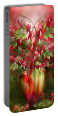 Portable Battery Charger featuring the mixed media Bleeding Hearts In Heart Vase by Carol Cavalaris