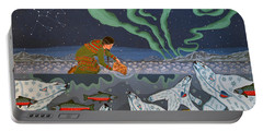 Portable Battery Charger featuring the painting Blessing Of The Polar Bears by Chholing Taha