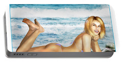 Blonde On Beach Portable Battery Charger