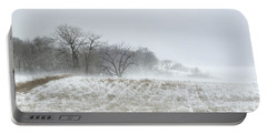 Blowing Snow Over Fields And Forest Portable Battery Charger