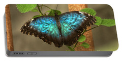 Blue And Black Butterfly Portable Battery Charger