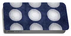 Blue And White Shibori Balls Portable Battery Charger