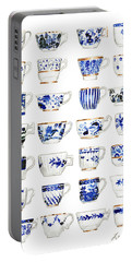 Blue And White Teacups Collage Portable Battery Charger