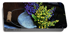 Blue And Yellow Flowers Portable Battery Charger by Mary Machare