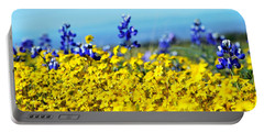 Blue And Yellow Wildflowers Portable Battery Charger by Holly Blunkall