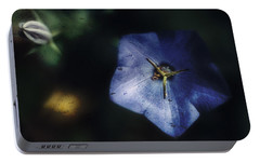 Portable Battery Charger featuring the photograph Blue Balloon Flower In The Shadows by Louise Kumpf