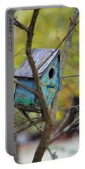 Portable Battery Charger featuring the photograph Blue Birdhouse by Gordon Elwell
