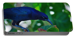 Blue-black Black Bird Portable Battery Charger