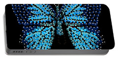 Blue Butterfly Black Background Portable Battery Charger