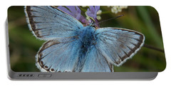 Portable Battery Charger featuring the digital art Blue Butterfly by Ron Harpham