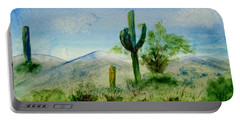 Portable Battery Charger featuring the painting Blue Cactus by Jamie Frier