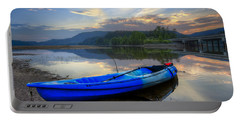 Blue Canoe At Sunset Portable Battery Charger