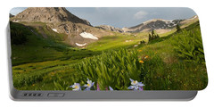 Portable Battery Charger featuring the photograph Handie's Peak And Blue Columbine On A Summer Morning by Cascade Colors